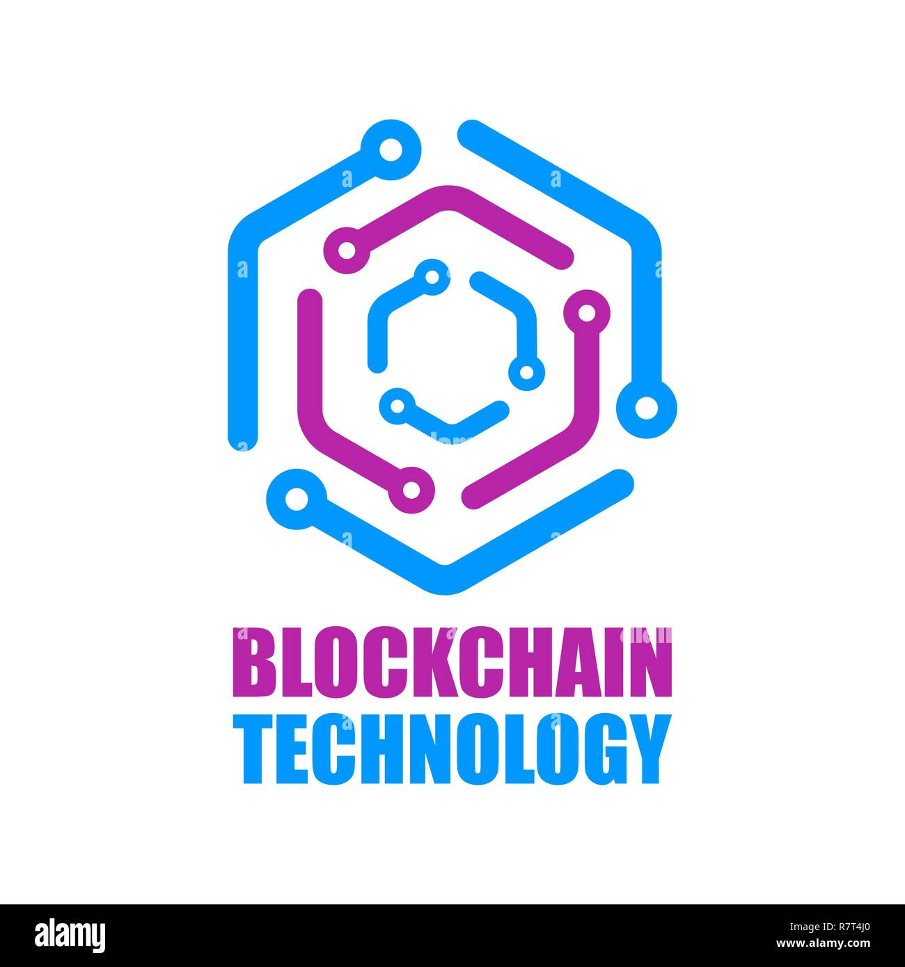 Blockchain technology icon. Vector smart contract block symbol. Decentralized transactions logo design. Crypto currencies network logotype. - Stock Image