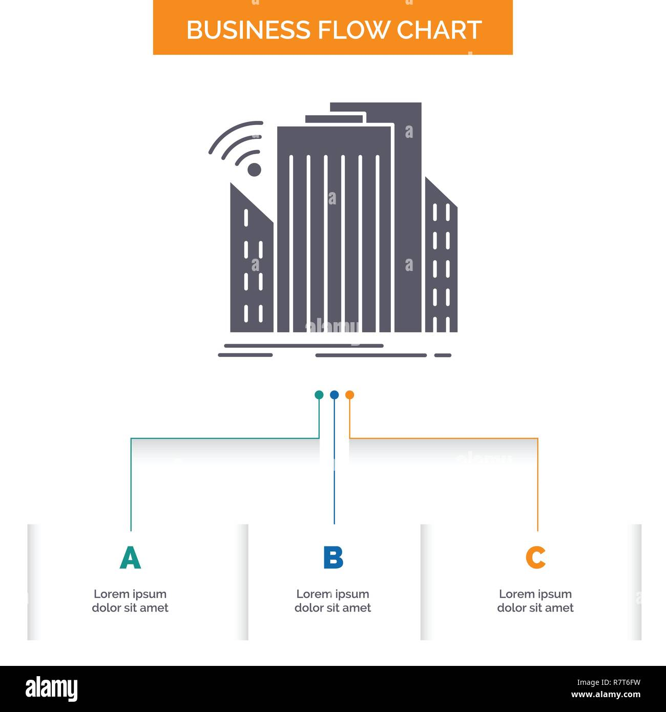 Buildings, city, sensor, smart, urban Business Flow Chart Design with 3 Steps. Glyph Icon For Presentation Background Template Place for text. - Stock Vector