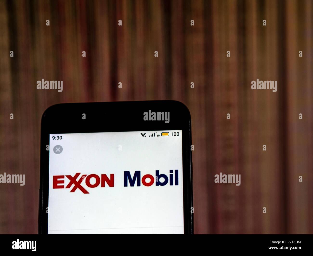 ExxonMobil logo seen displayed on smart phone Stock Photo