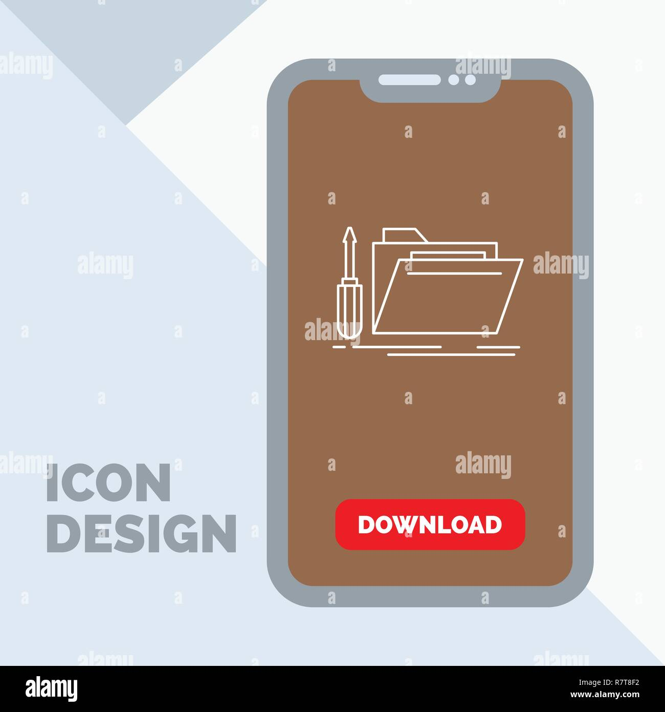 folder, tool, repair, resource, service Line Icon in Mobile for