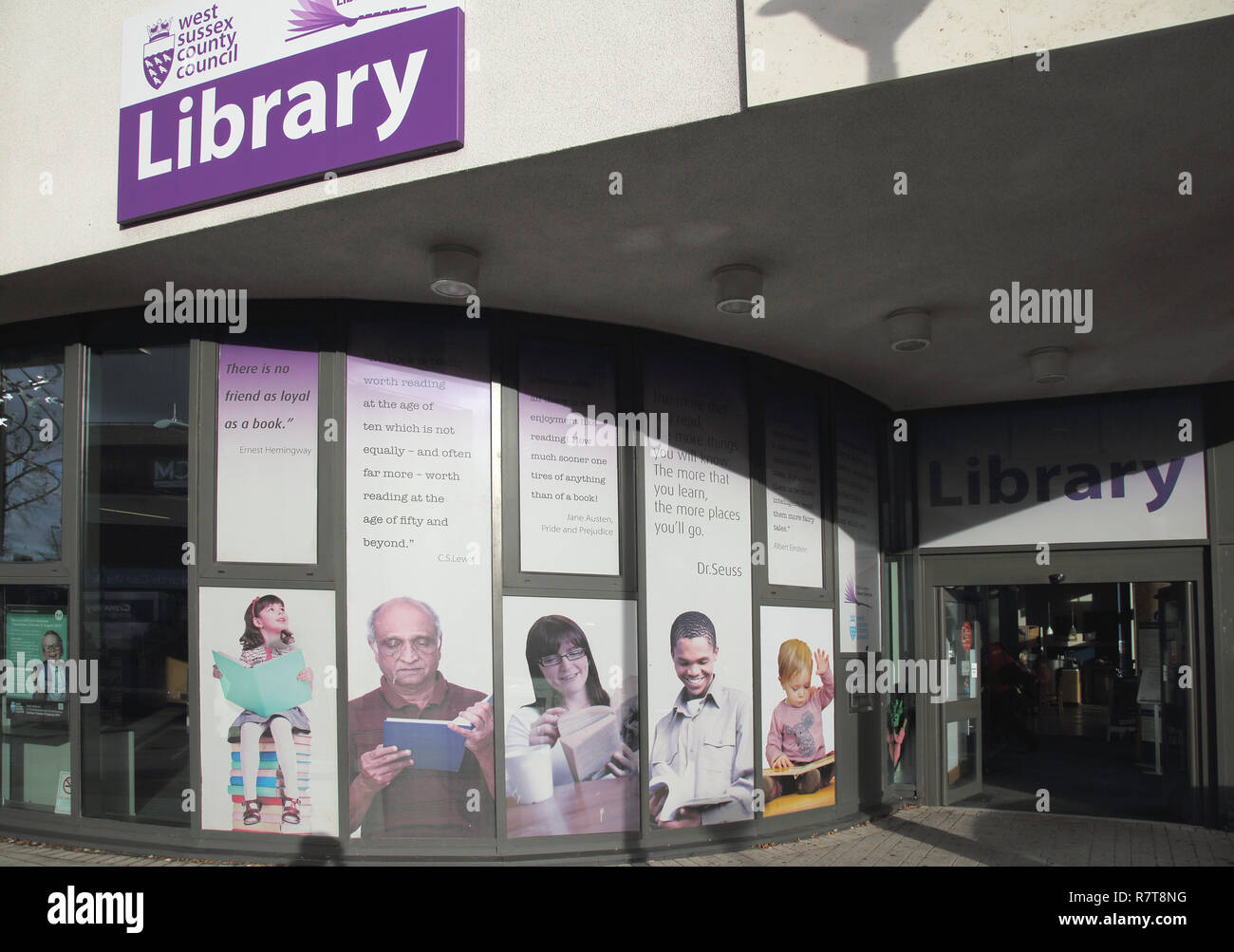 the central library in crawley town centre west sussex - Stock Image