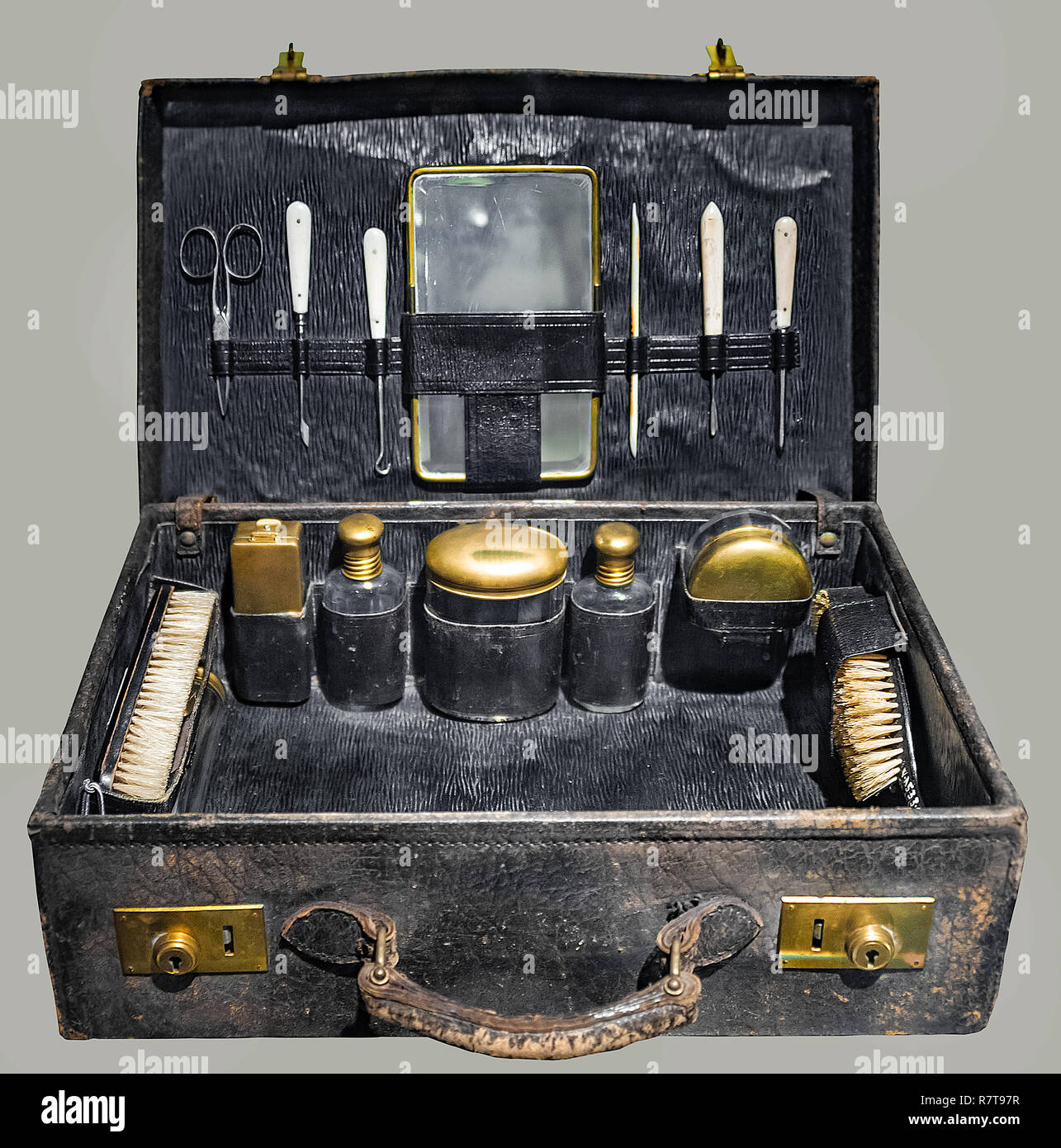 Vintage Toiletry Kit In Leather Travel Case On Isolated Gray Background And Clipping Path Stock Photo Alamy
