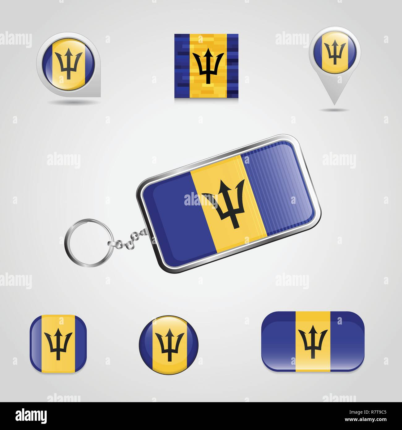 Barbados Country Flag on Keychain and map pin different style - Stock Vector