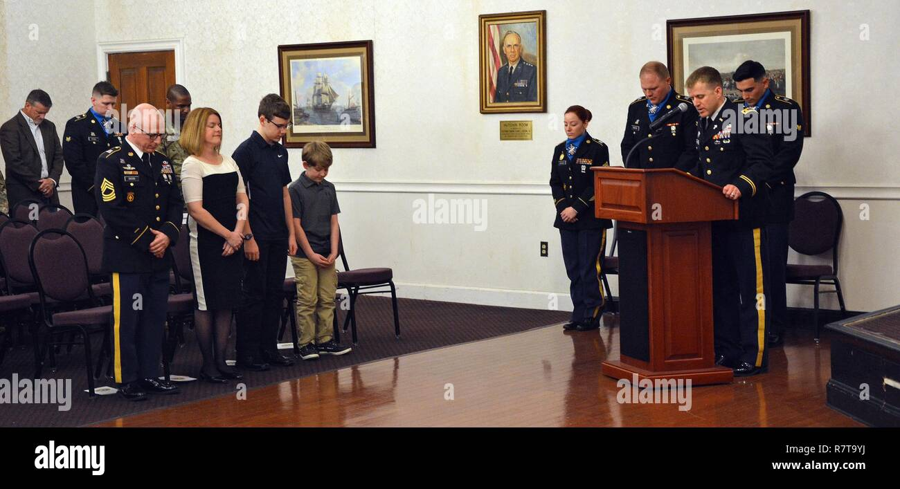 FORT MEADE, Maryland - Chaplain (Maj ) Brian C  Satterlee leads the