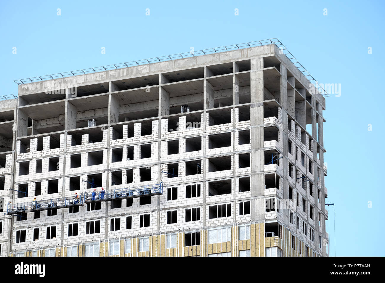 Process Of Construction High Rise Modern Apartment Building With