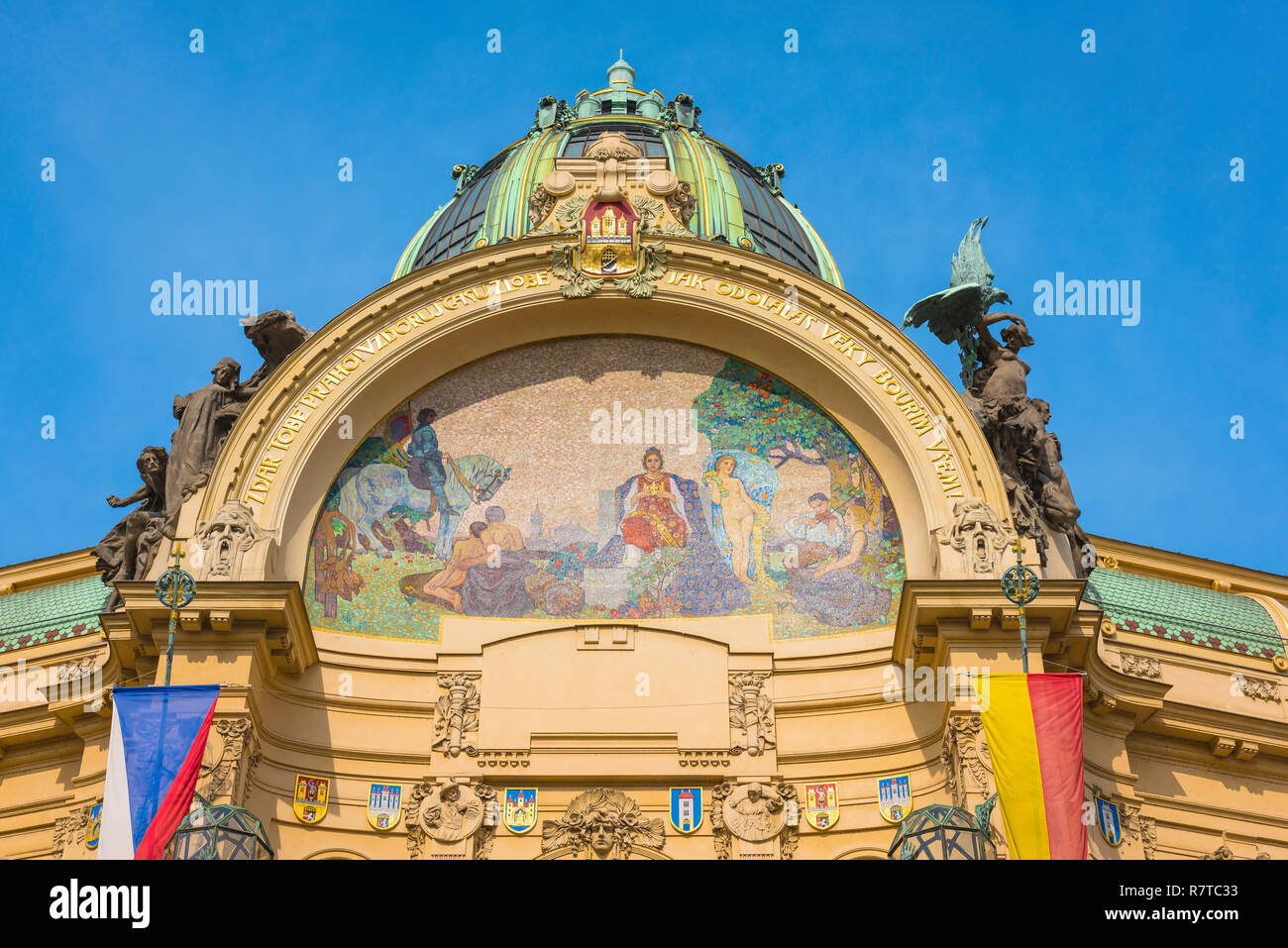 Art nouveau Prague, view of a colorful mosaic along the roofline of the art nouveau styled Obecni dum (Municipal House) building in Prague, Czech Rep. Stock Photo
