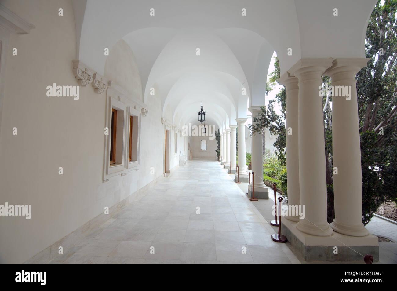 Italian courtyard of Livadia Palace, Livadiya, Yalta, Crimea, Ukraine - Stock Image