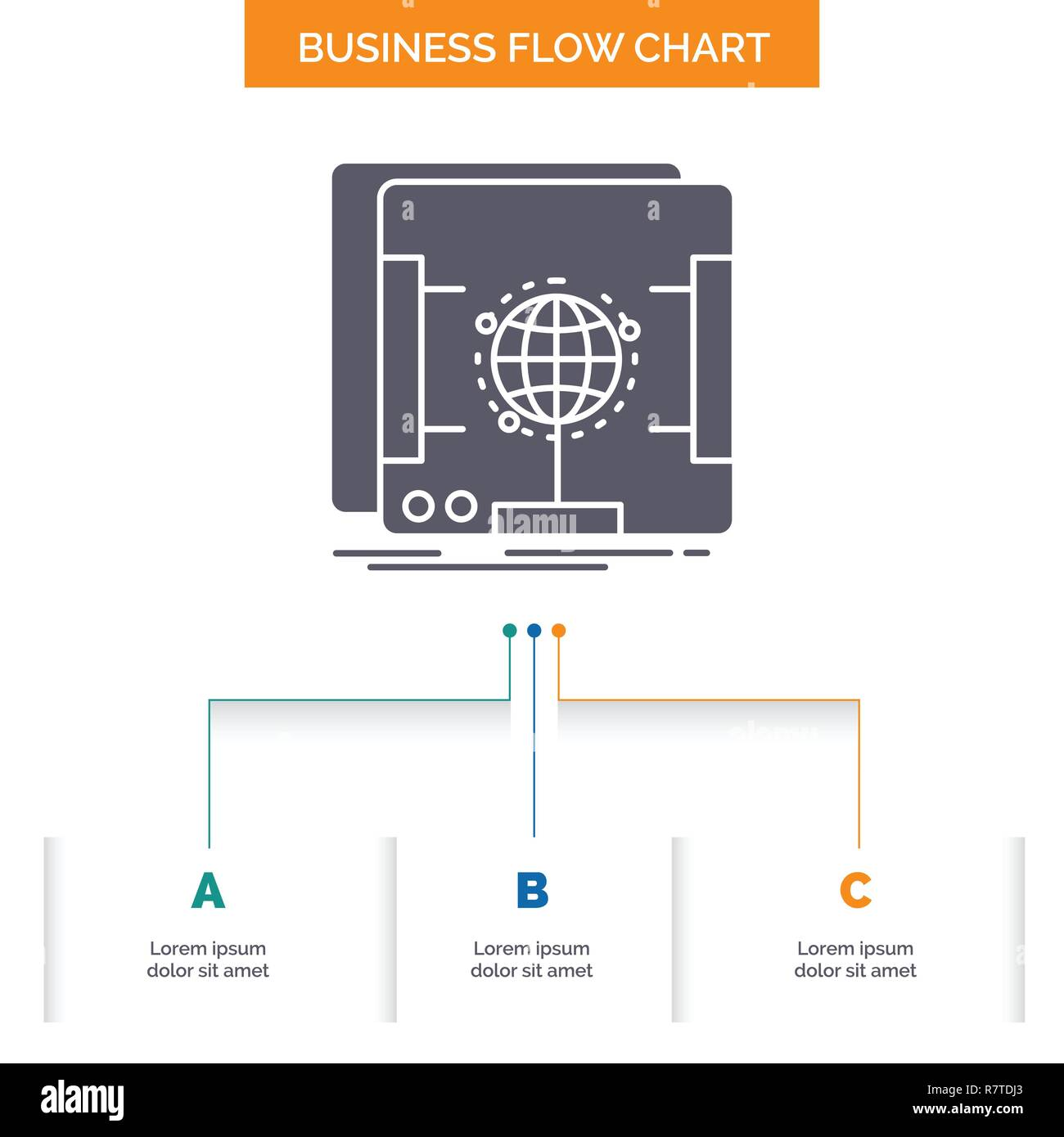 3d, dimensional, holographic, scan, scanner Business Flow Chart Design with 3 Steps. Glyph Icon For Presentation Background Template Place for text. - Stock Vector
