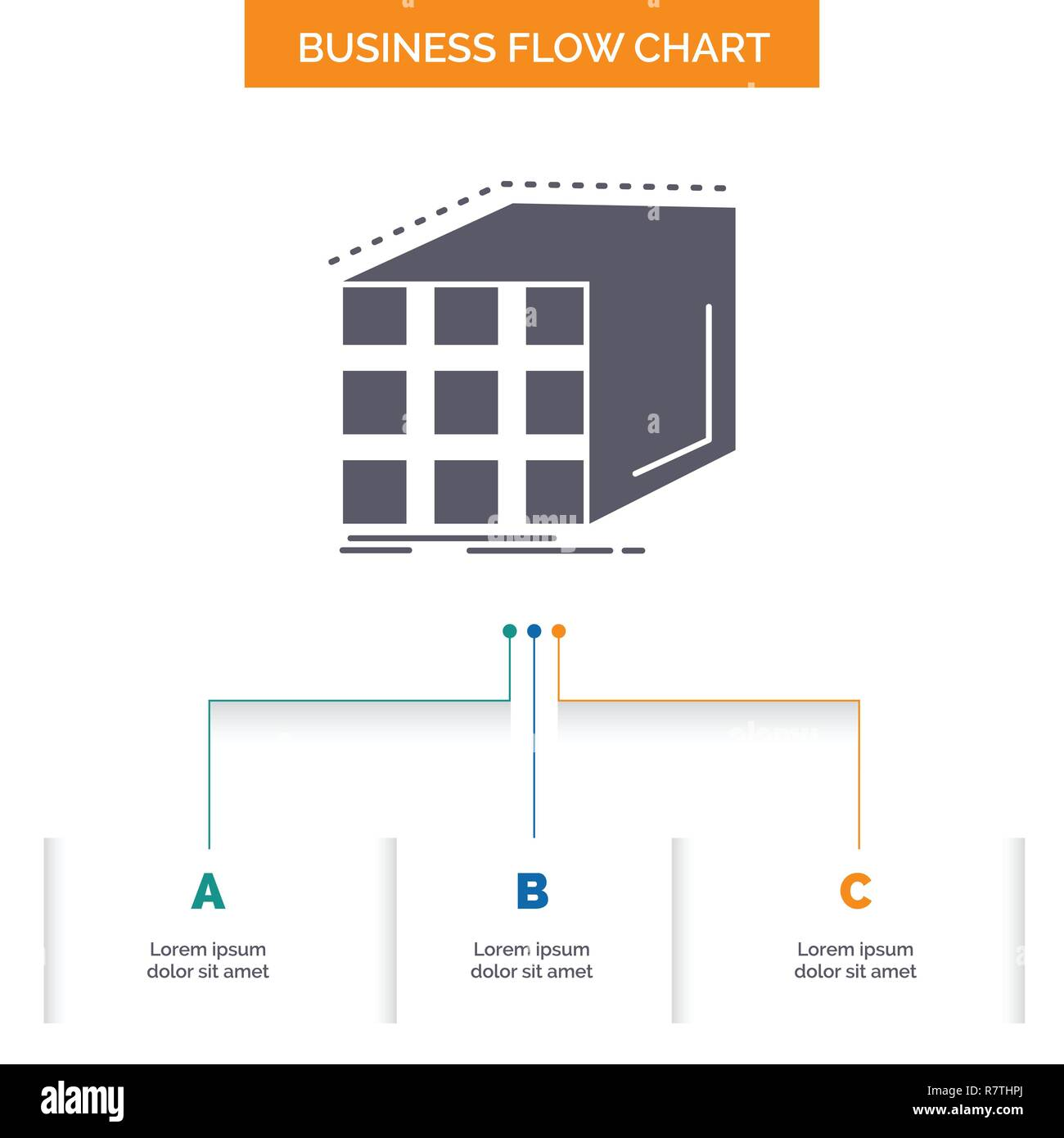 Abstract, aggregation, cube, dimensional, matrix Business Flow Chart Design with 3 Steps. Glyph Icon For Presentation Background Template Place for te - Stock Vector