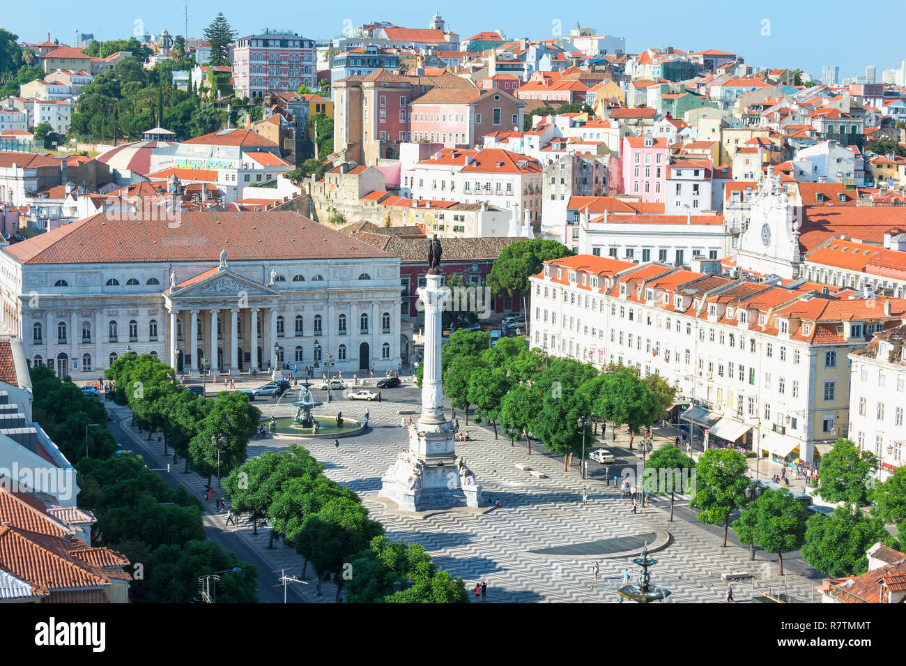Aerial view of Rossio Square, Baixa, Lisbon, Portugal Stock Photo
