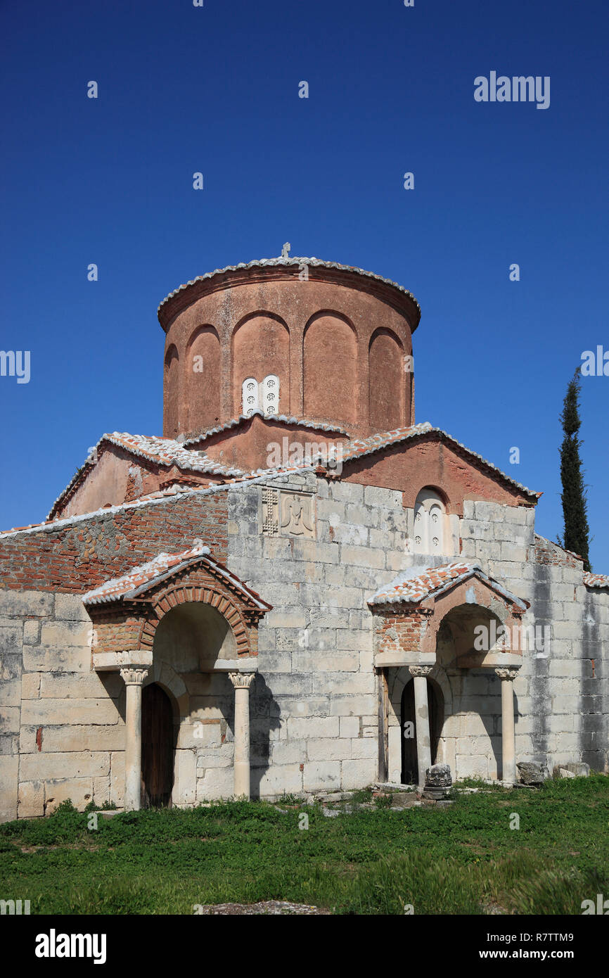 Byzantine Mother of God Church in the Shen Meri monastery, built about 1250, ruins of Apollonia, Apoloni, Apollonia, Fier County Stock Photo