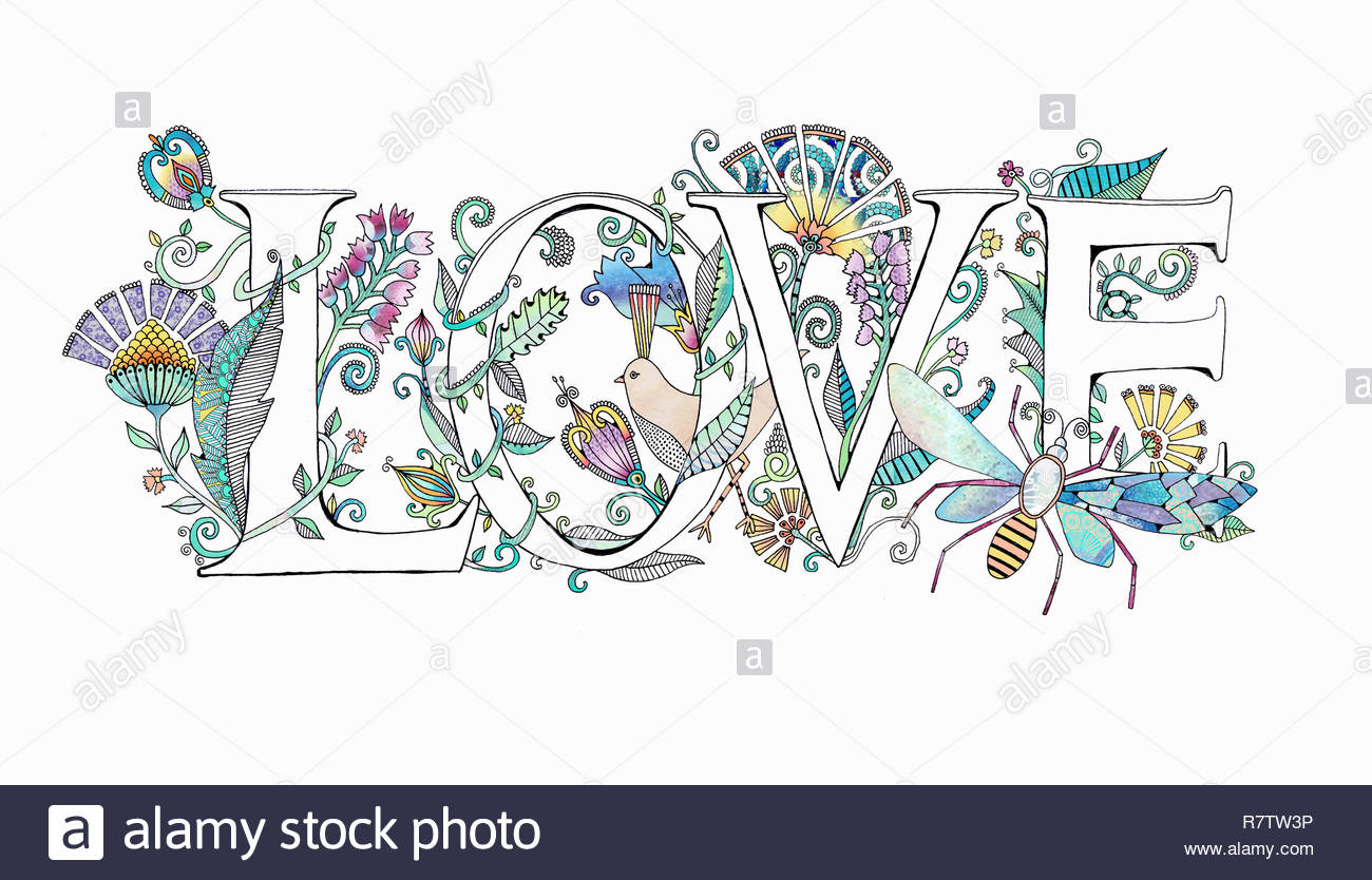 The word 'love' decorated with flowers Stock Photo