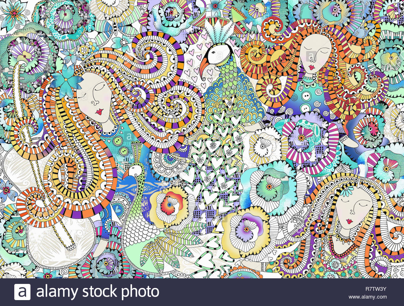 Women's faces, peacocks, hearts and flowers in intricate ornate pattern Stock Photo