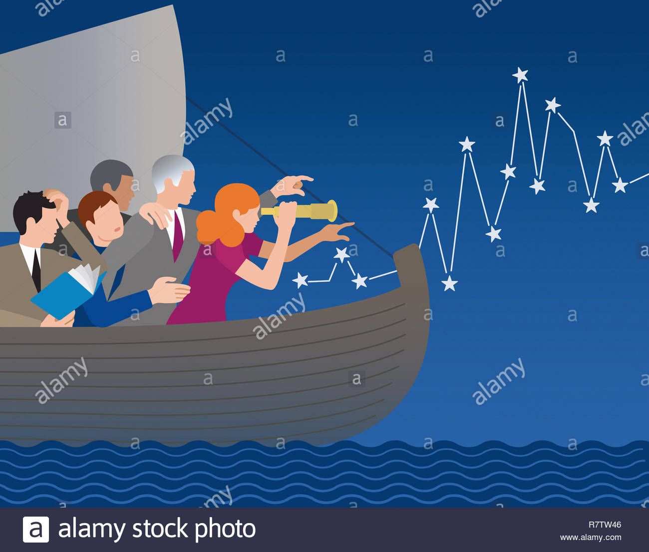 Business people lost at sea finding the way forward Stock Photo