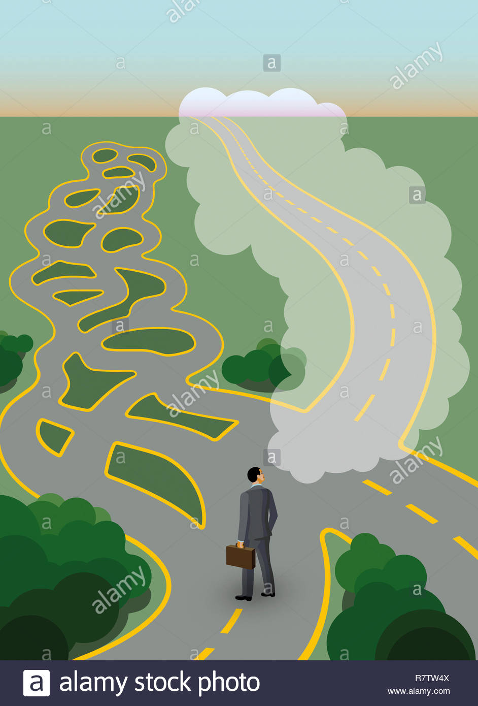 Businessman at crossroads with complex maze but dreaming of straight path Stock Photo