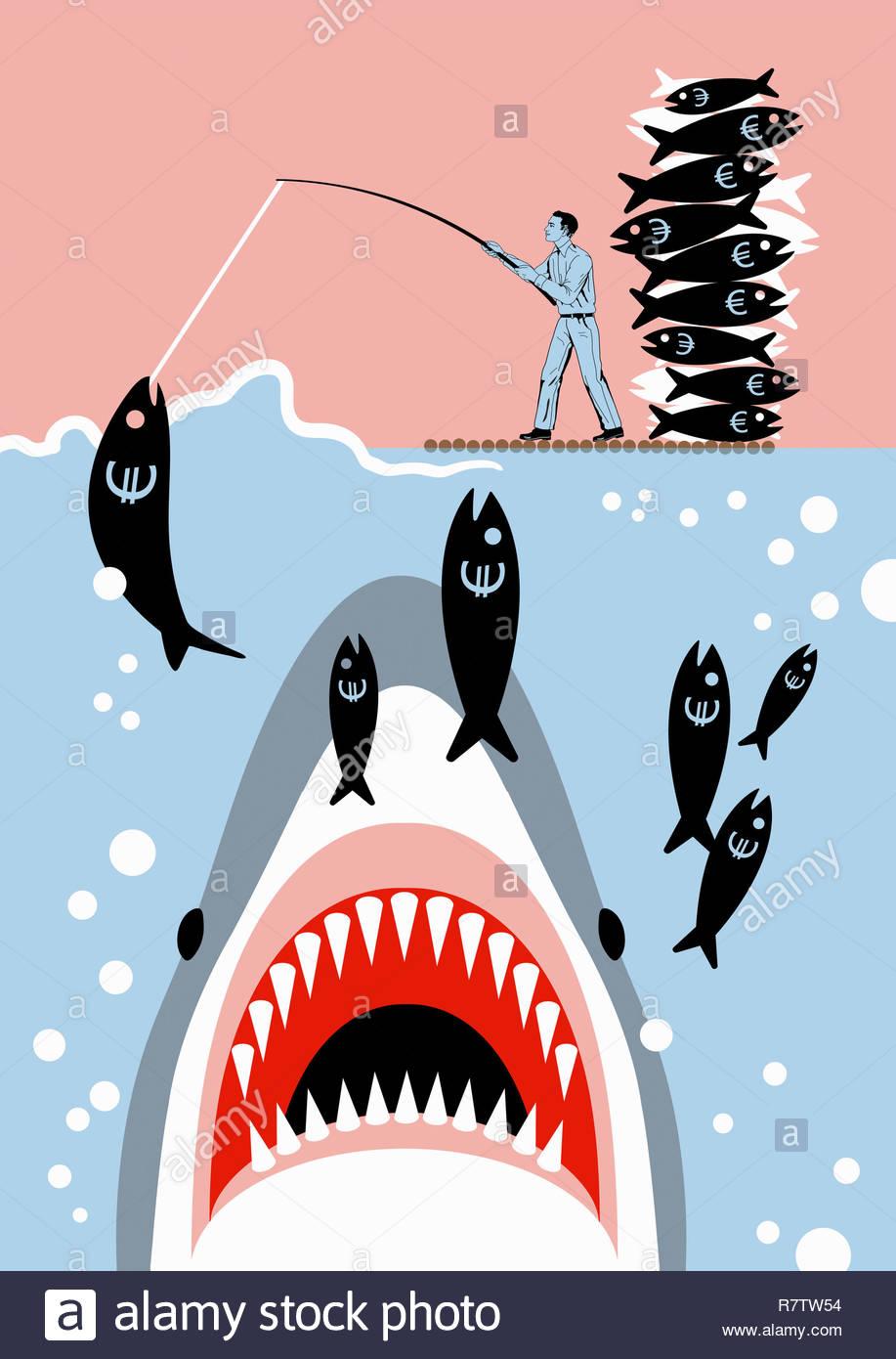 Businessman catching euro sign fish unaware of shark Stock Photo