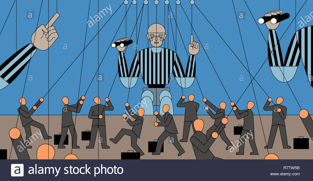 Lots of small businessmen controlling large referee puppets Stock Photo