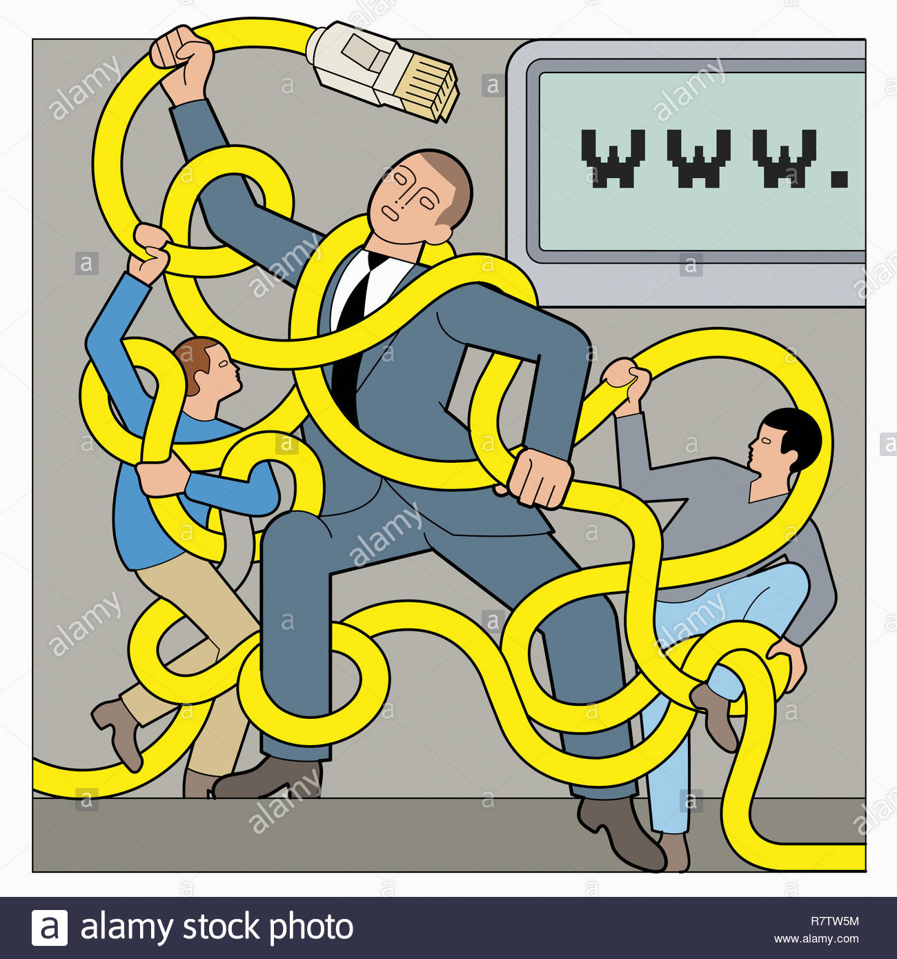 Father fighting children for parental control of internet cable Stock Photo