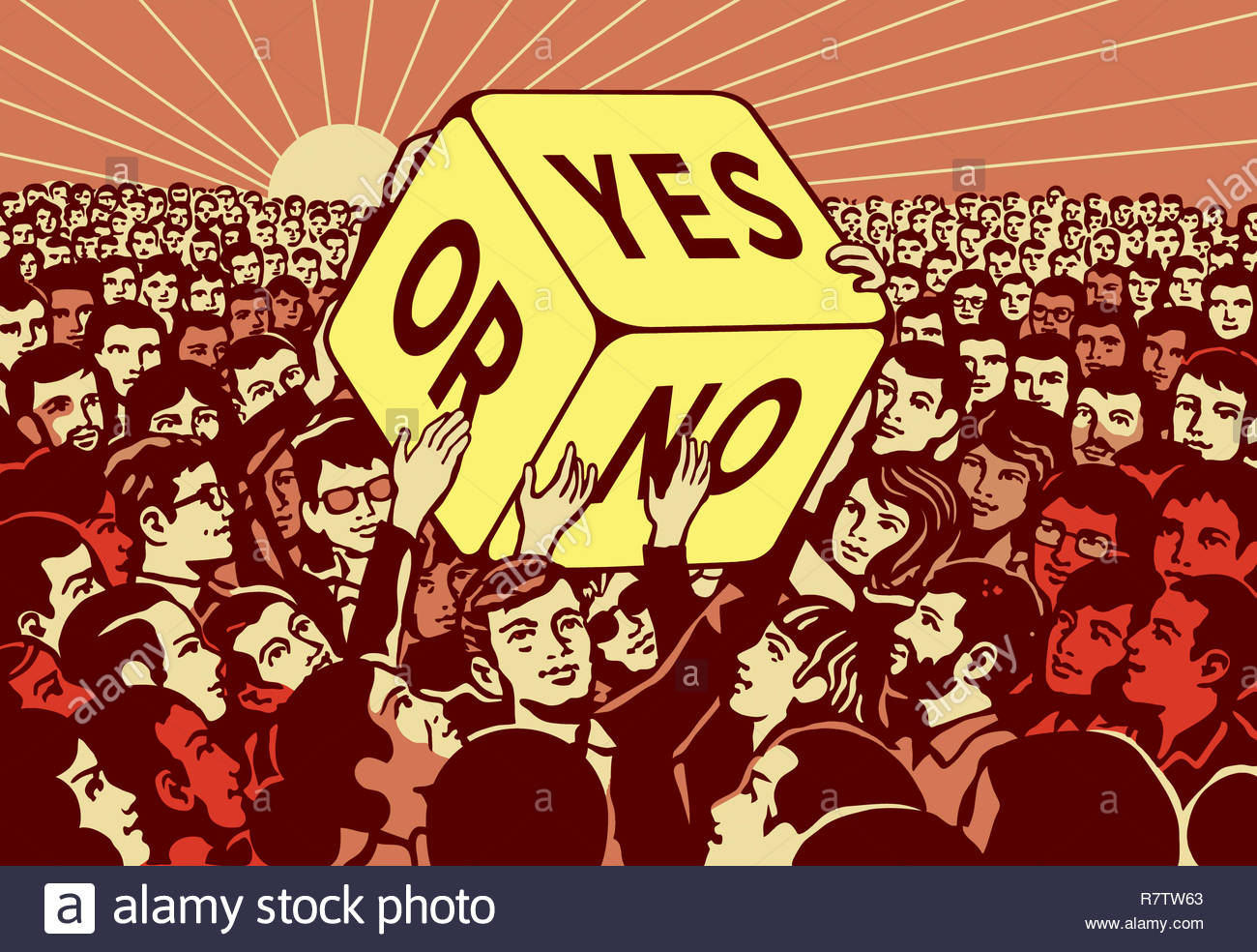 Crowd of people passing large dice with yes or no choice Stock Photo