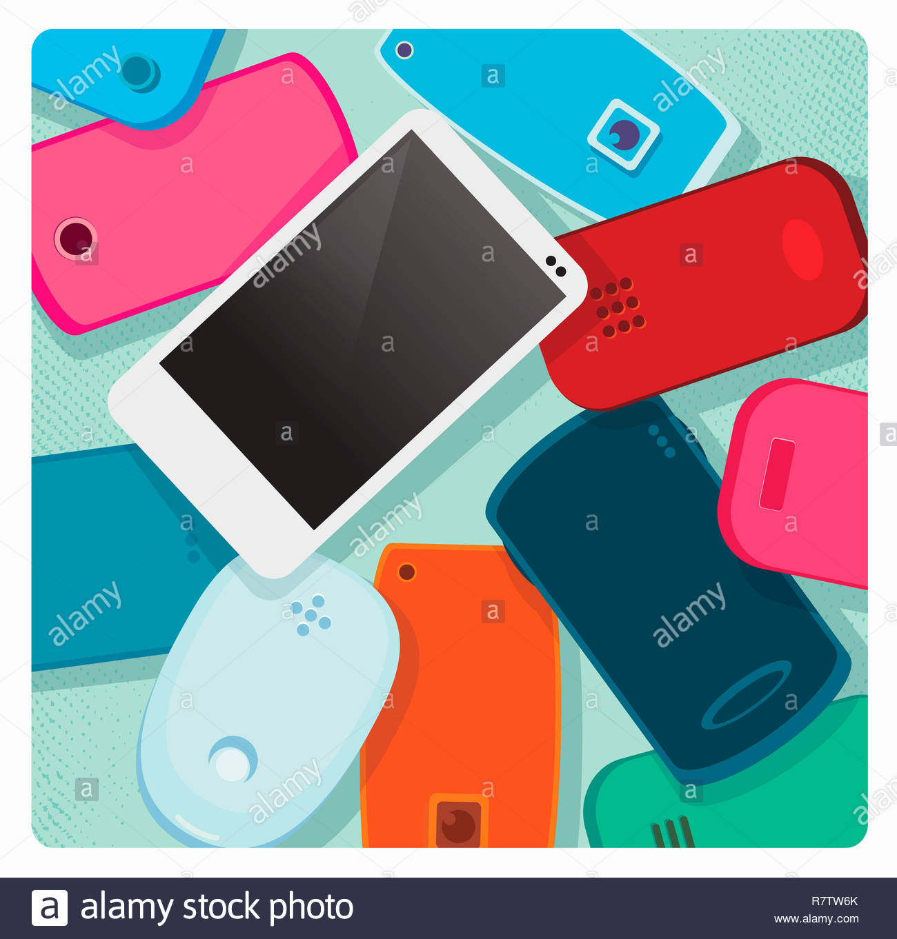 Modern white smart phone standing out from pile of old-fashioned mobile phones Stock Photo