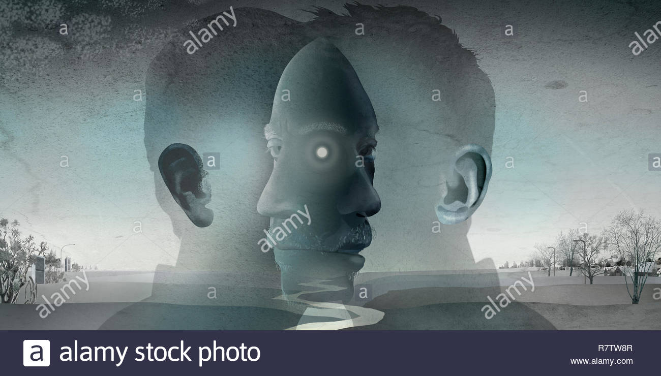 River flowing between overlapping profiles of man's face - Stock Image