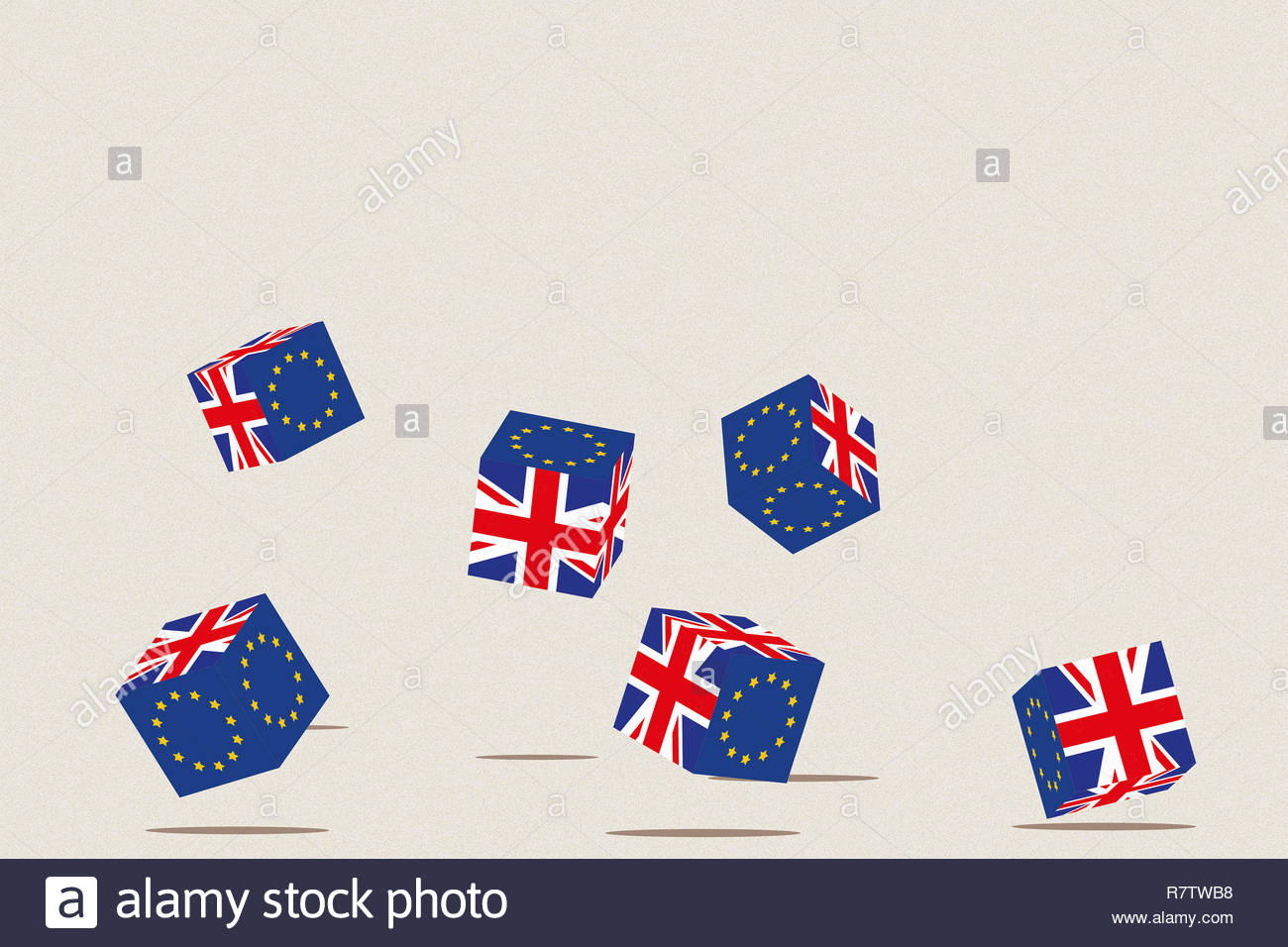 British and European Union flags on tumbling dice - Stock Image
