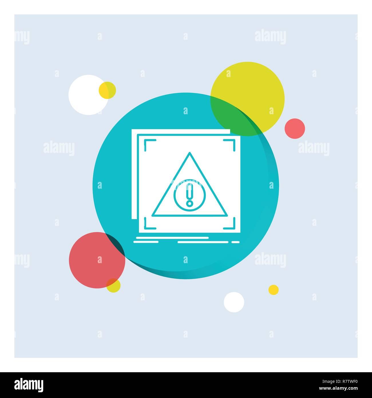 Error, Application, Denied, server, alert White Glyph Icon colorful Circle Background - Stock Image