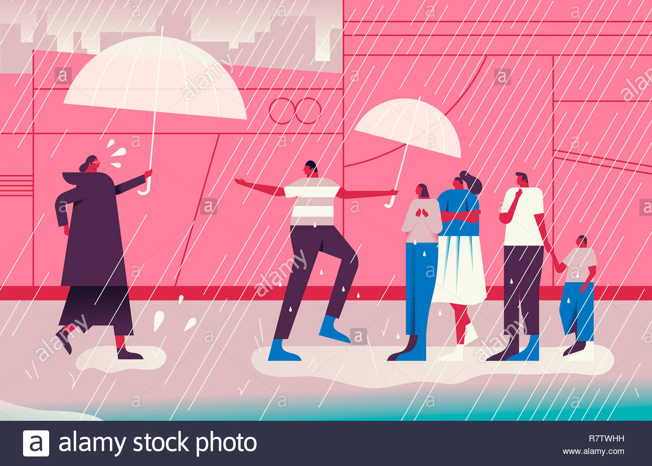 Man and woman bringing umbrellas to people out in the rain - Stock Image