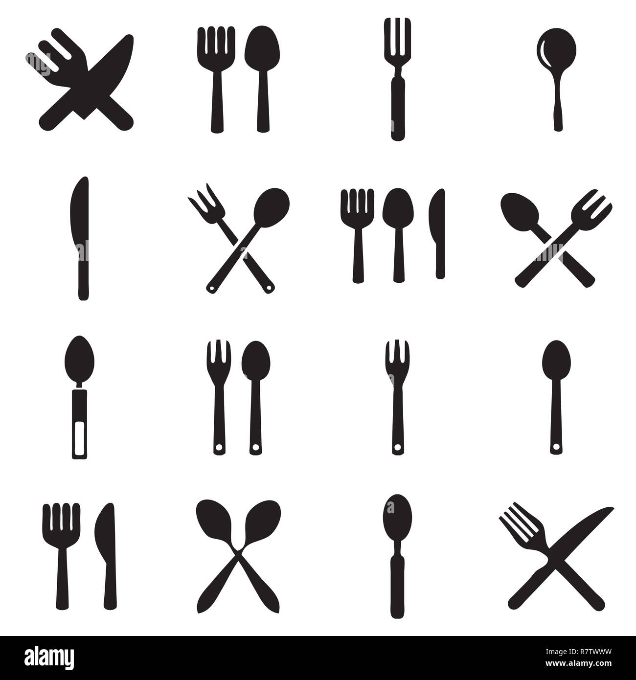 kitchen fork and spoon icon vectors - Stock Image