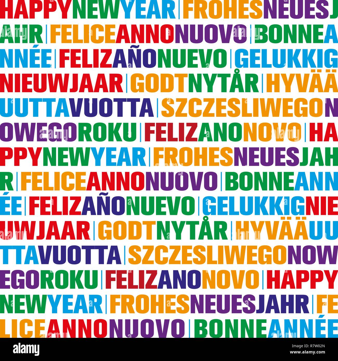 happy new year greeting card in different languages stock image