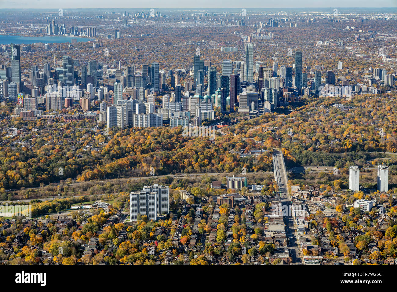 An aerial view from Danforth Avenue looking west toward Yonge and Bloor Streets. - Stock Image