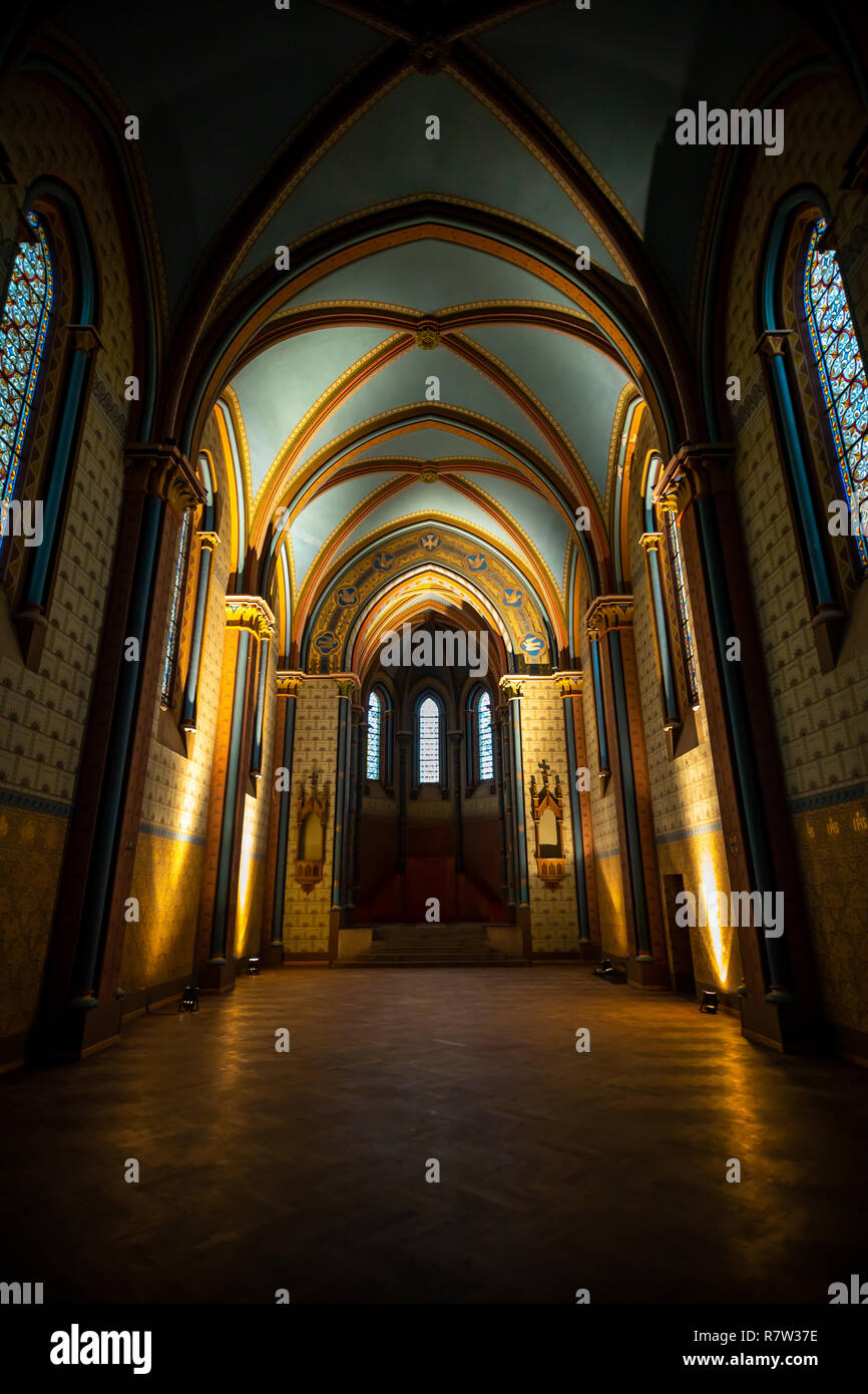Prague, Czech Republic - 5.12.2018: Interior of main hall in protestant church Sacre Coeur in Prague, Czech Republic - Stock Image