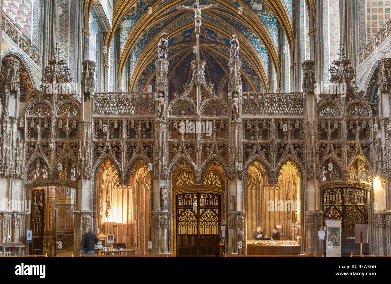 France, Tarn, Albi, cathedral Sainte Cecile, the jube, listed as World Heritage by UNESCO Stock Photo