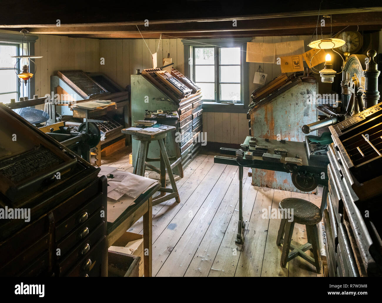 Print shop at the Luostarinmäki Handicrafts Museum, an area of 200 year old wooden buildings which survived the fire of 1827, Turku, Finland - Stock Image