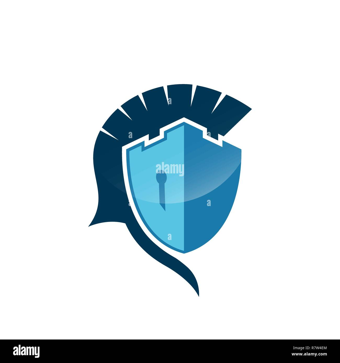 Castle Spartan Shield Logo Template Danger Skull Protecting Badge Emblem Vector Icon