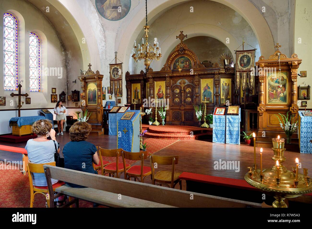 France, Pyrenees Atlantiques, Basque Country, Biarritz, the Russian Orthodox Church built in 1892 on the imperial estate - Stock Image