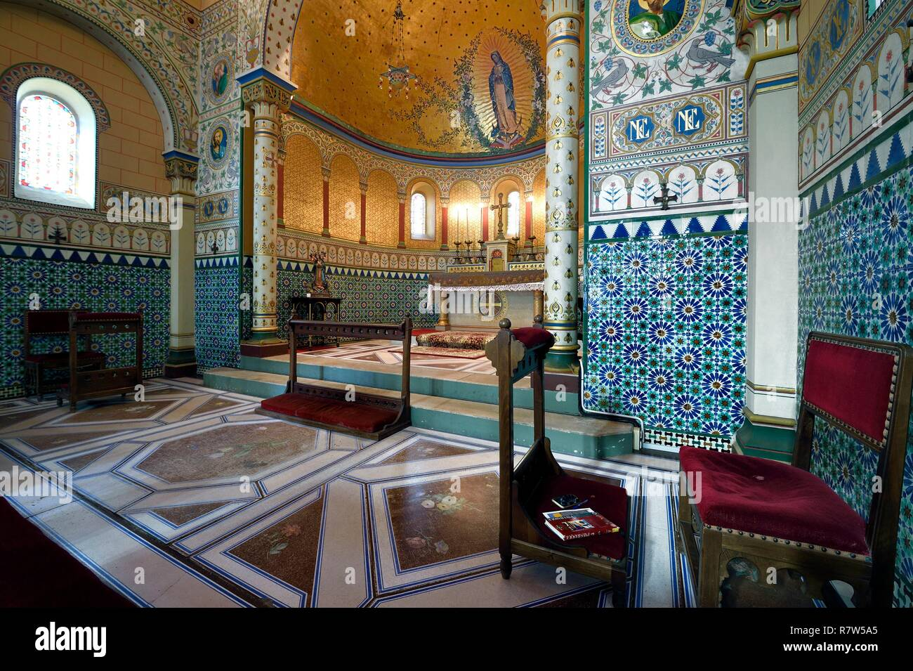 France, Pyrenees Atlantiques, Basque Country, Biarritz, Imperial Chapel built in 1864 by architect Boeswillwald - Stock Image