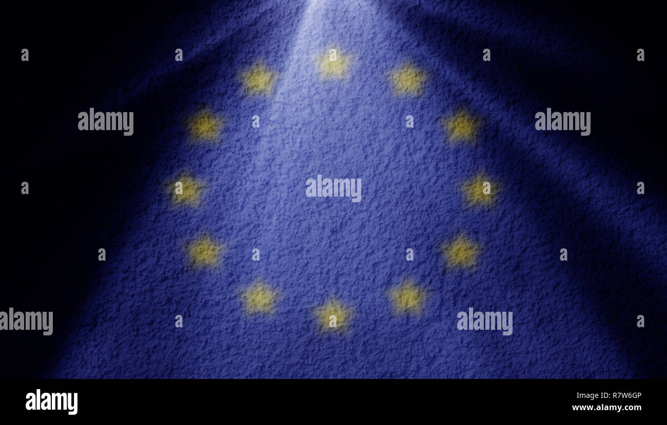 spot light with european union flag on a wall - Stock Image