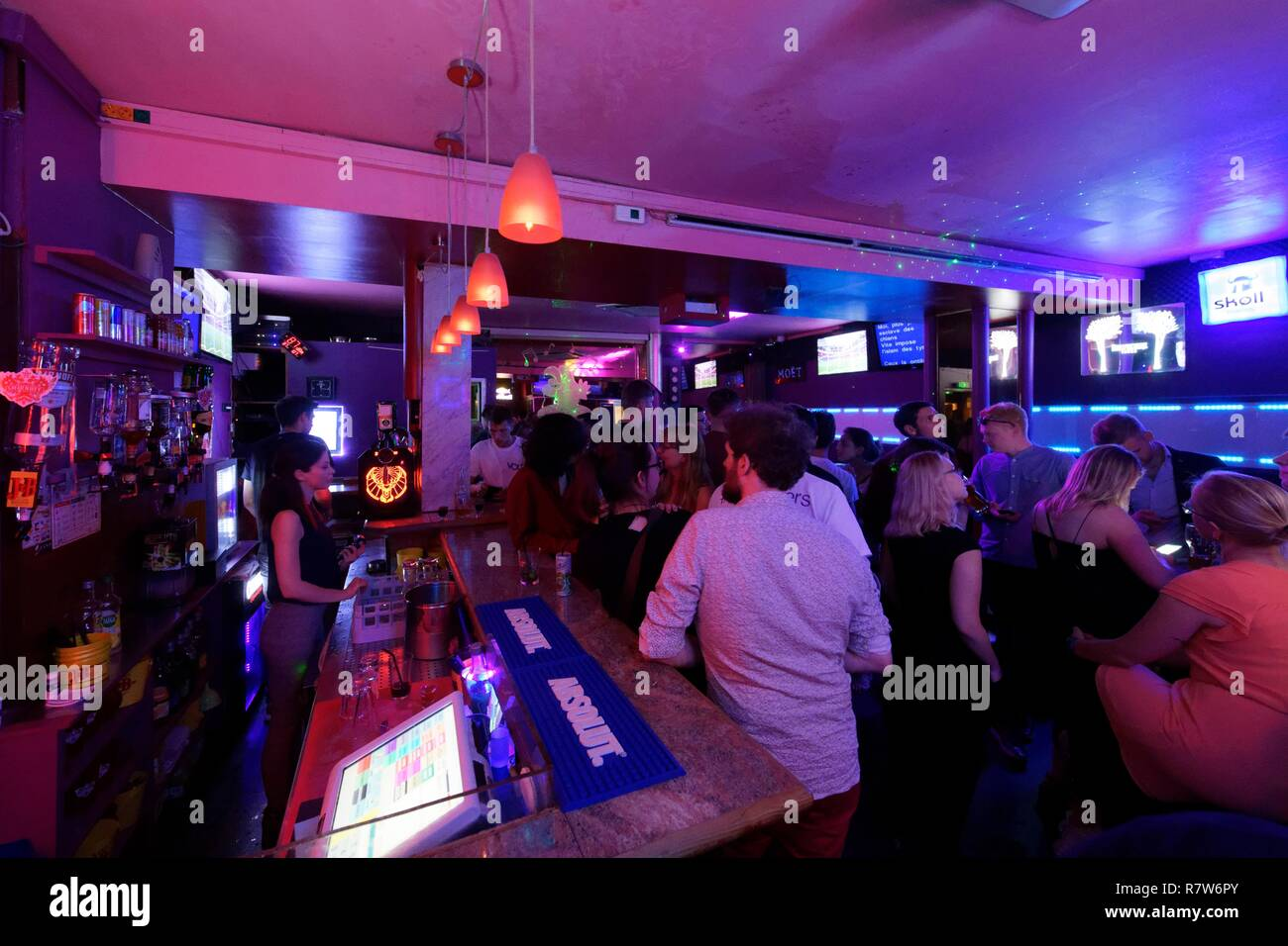 France, Bas Rhin, Strasbourg, old town listed as World Heritage by UNESCO, Bunny's karaoke bar, 1, rue de l'Epine - Stock Image