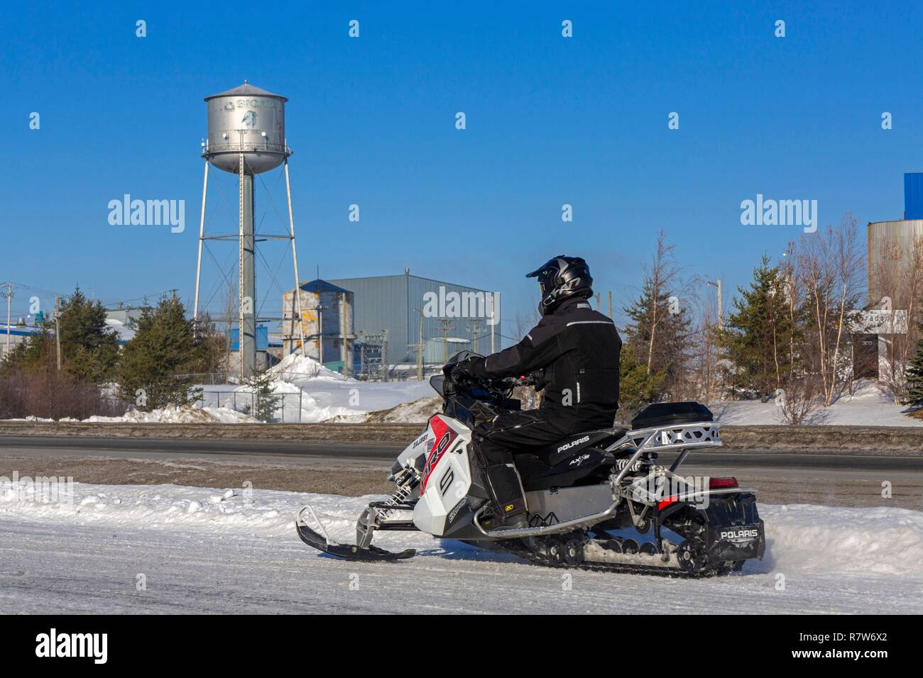Canada, Province of Quebec, Abitibi Témiscamingue Region, Abitibi, Val d'Or, Lamaque Eldorado Gold Mine, snowmobile - Stock Image