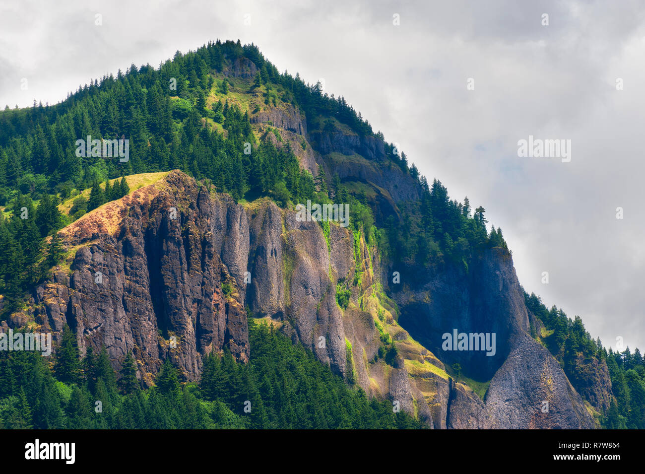 Basalt rock cliffs seen on the Washington side of the Columbia River Gorge. - Stock Image