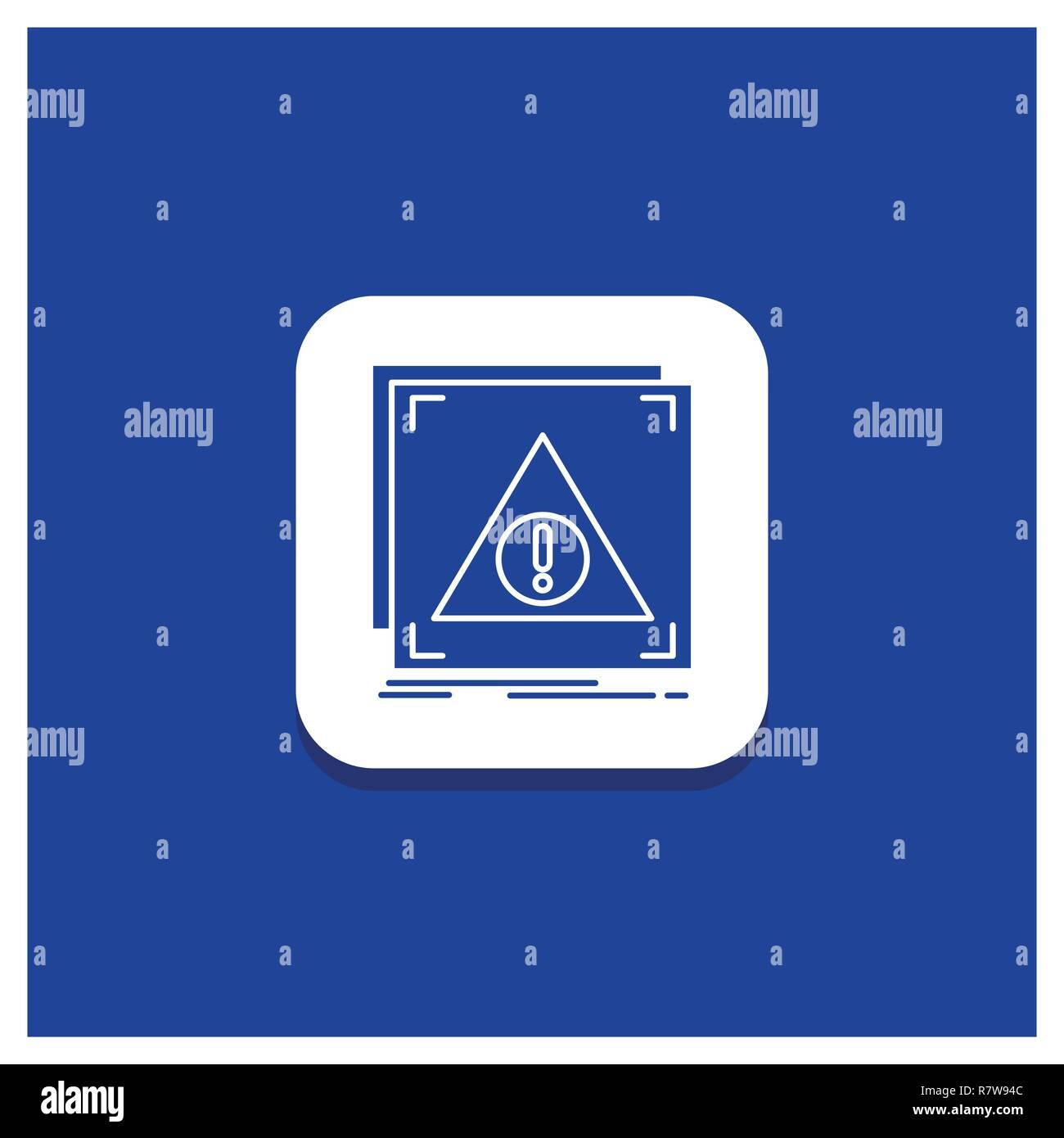 Blue Round Button for Error, Application, Denied, server, alert Glyph icon - Stock Image
