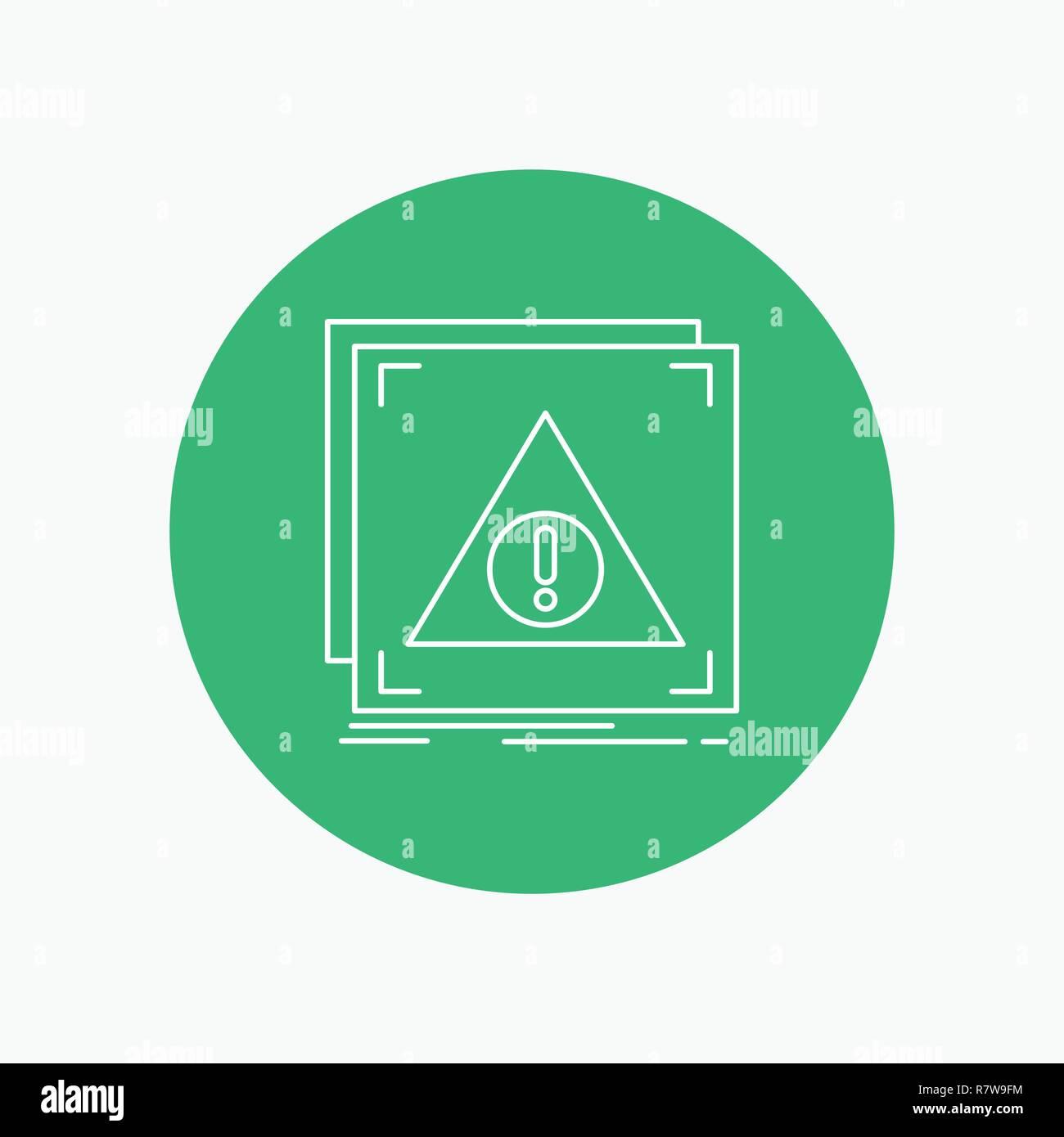 Error, Application, Denied, server, alert White Line Icon in Circle background. vector icon illustration - Stock Image