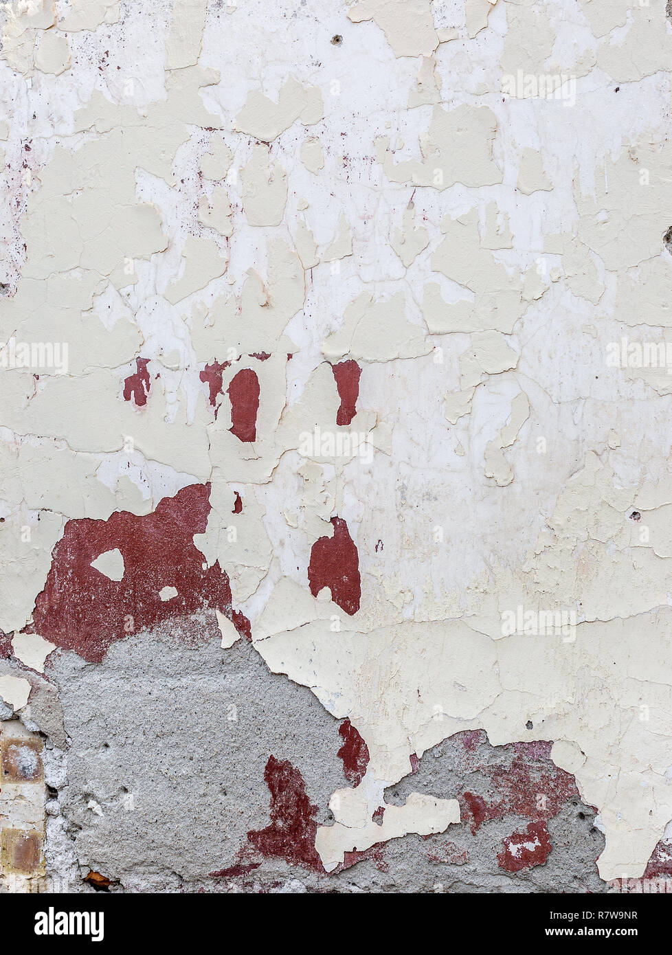 Old abandoned building facade wall with peeling paint, abstract background. Rough cracked stucco surface texture. Vertical photo - Stock Image