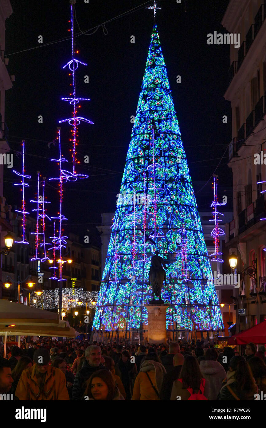 Christmas Spain.Christmas Tree At Plaza Mayor Madrid Spain Stock Photo