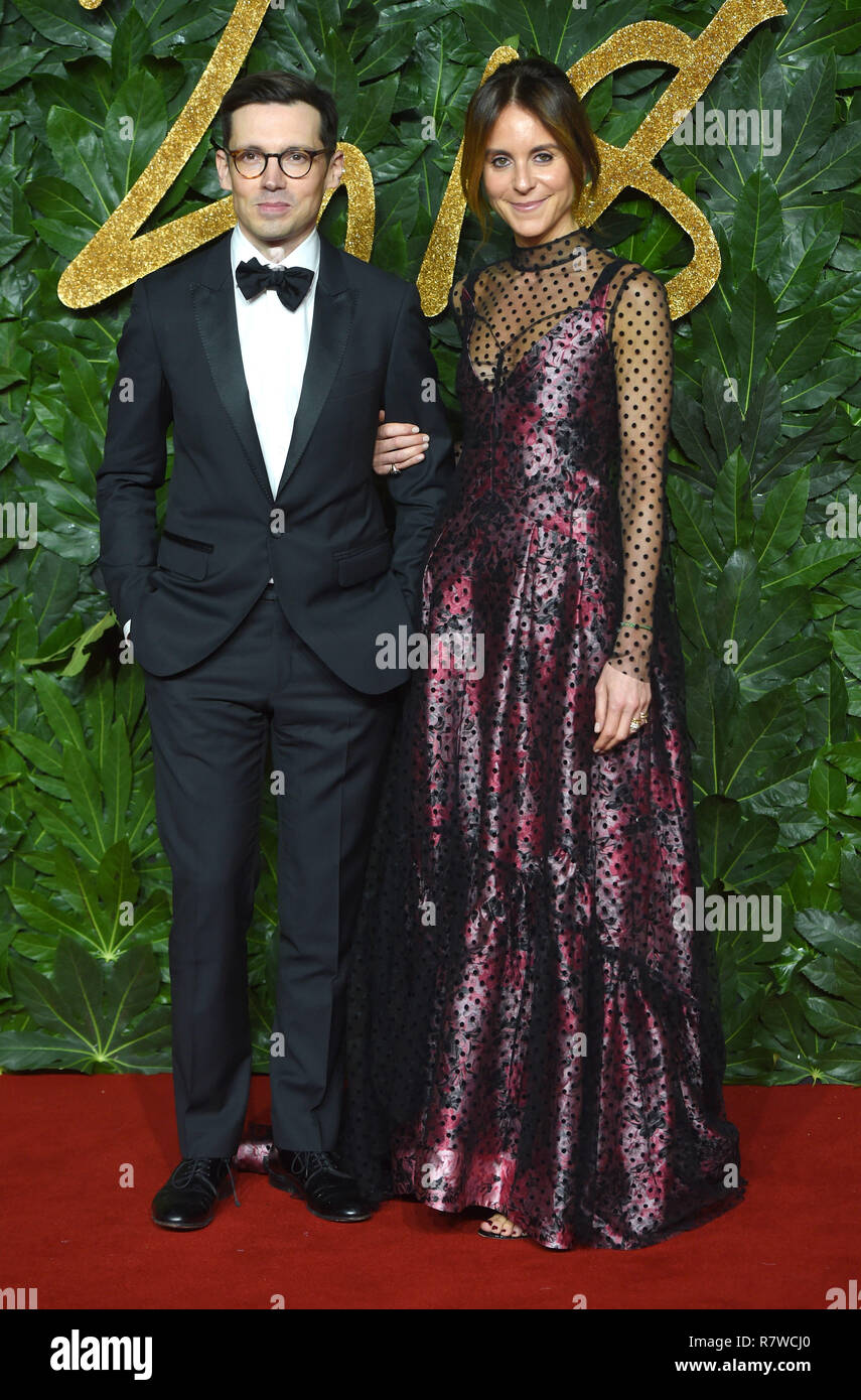 Photo Must Be Credited ©Alpha Press 079965 10/12/2018 Erdem Moralioglu and Alison Loehnis The Fashion Awards 2018 Royal Albert Hall London - Stock Image