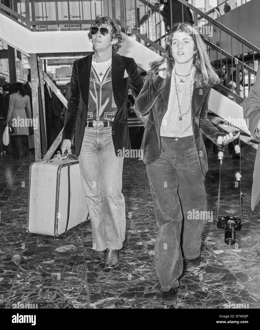 Caroline Kennedy and Mark Shand leaving Heathrow Airport in London in 1976 - Stock Image