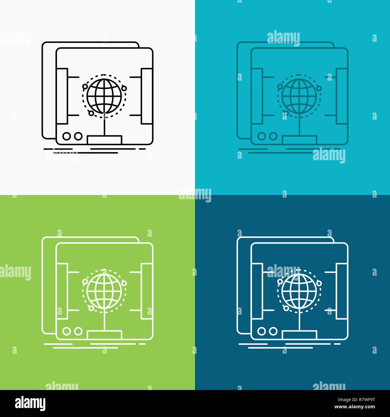 3d, dimensional, holographic, scan, scanner Icon Over Various