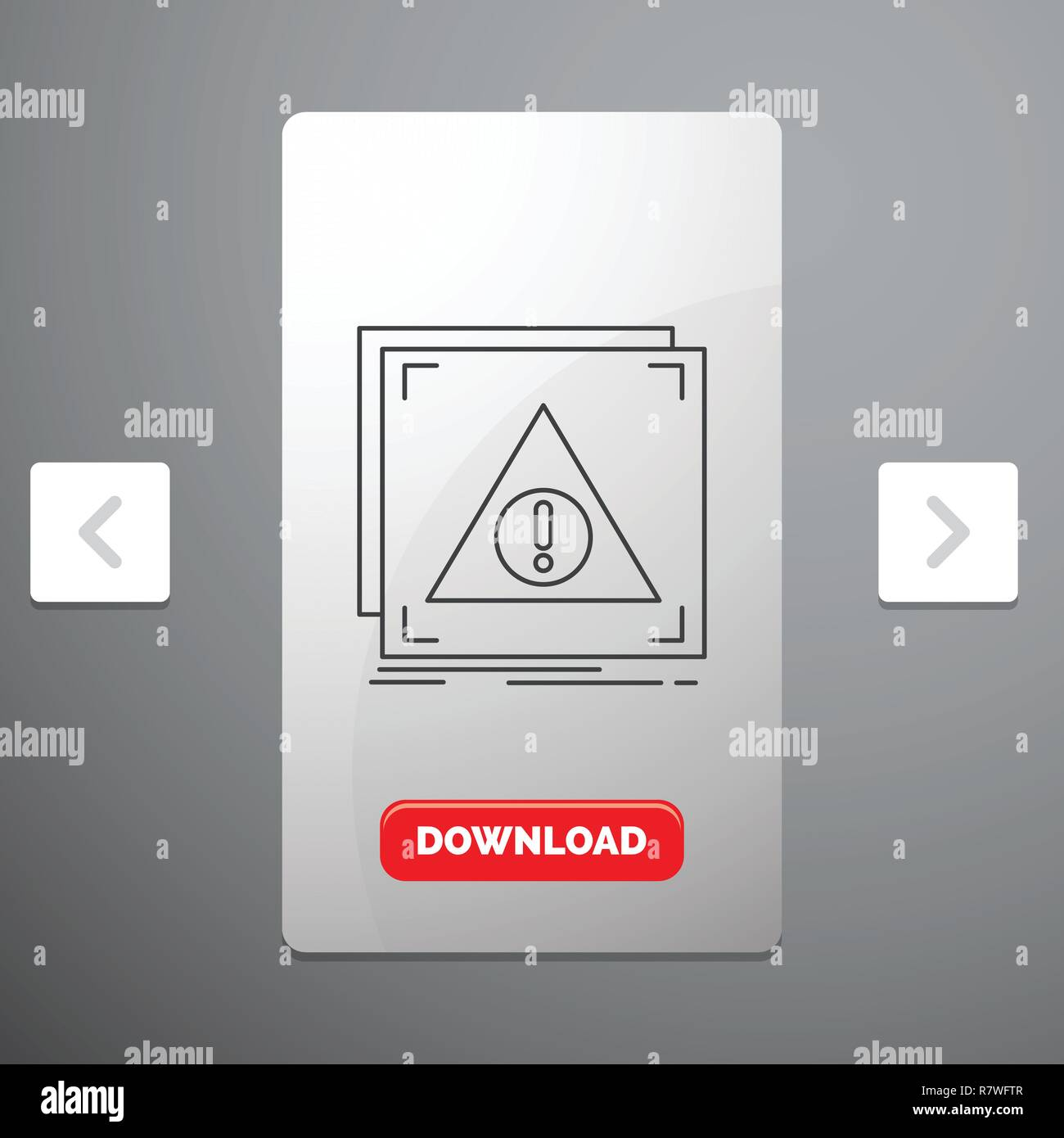 Error, Application, Denied, server, alert Line Icon in Carousal Pagination Slider Design & Red Download Button - Stock Image