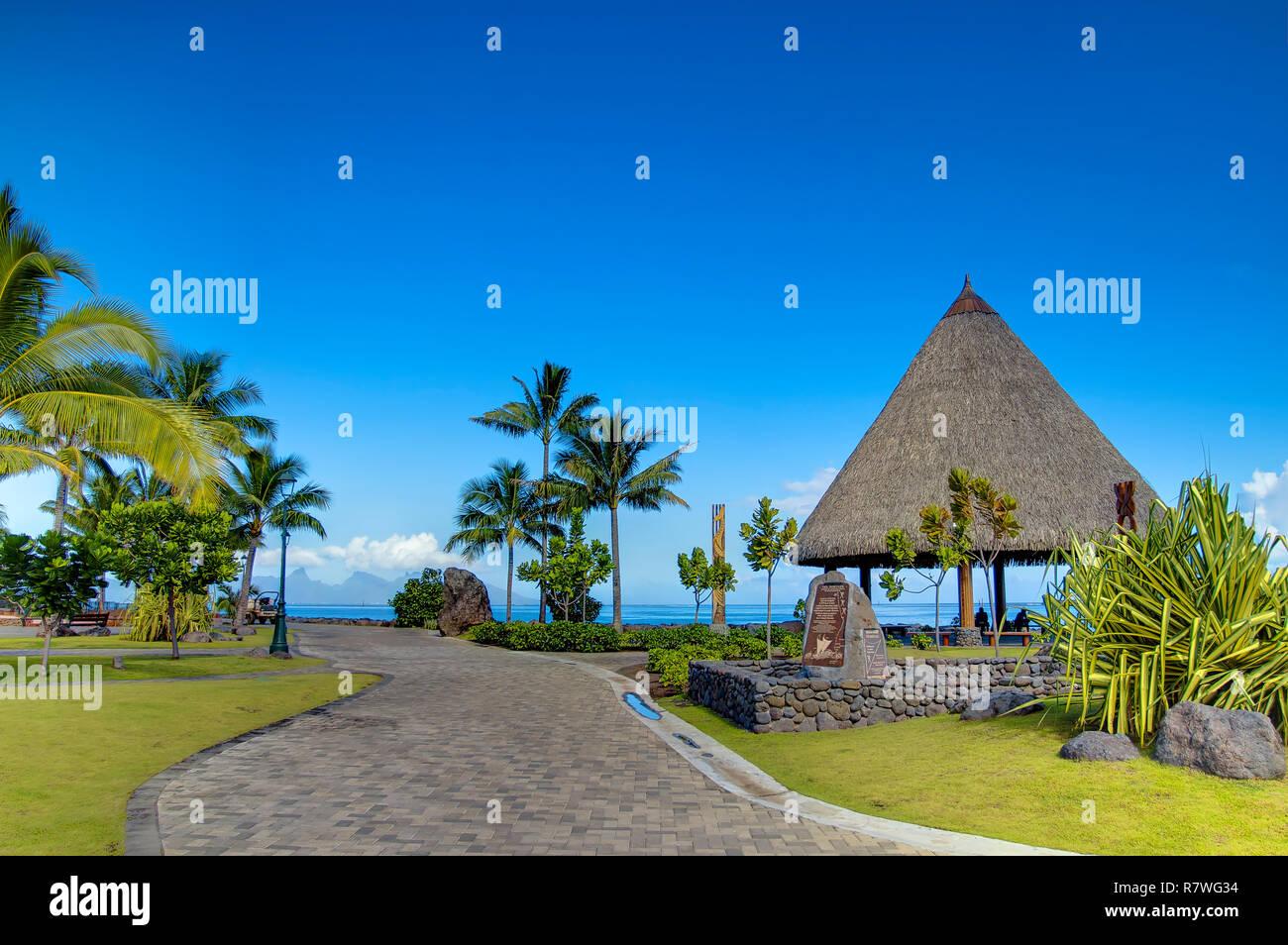 Seaside of Tahiti island. - Stock Image